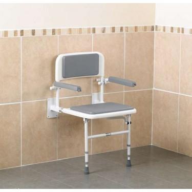 Siège de douche avec dossier et accoudoirs