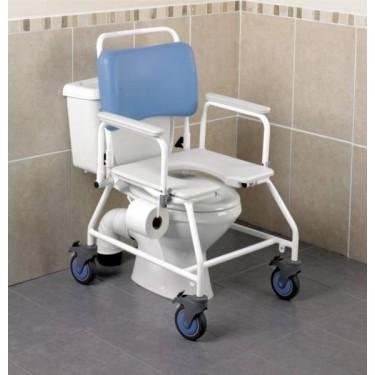 Chaise de douche et de WC à roulettes XXL