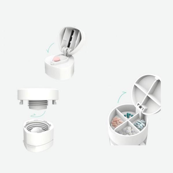 Gourde pilulier 4 en 1: gourde, pilulier, broyeur et coupe-comprimés