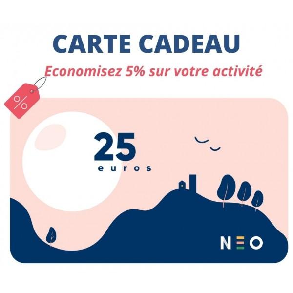 Carte cadeau 25 euros pour les activités NEOSILVER